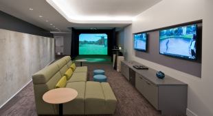Fully equipped game room and theater resident lounge.