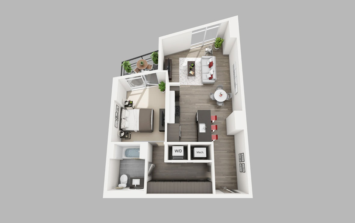 A10 - 1 bedroom floorplan layout with 1 bath and 790 square feet.
