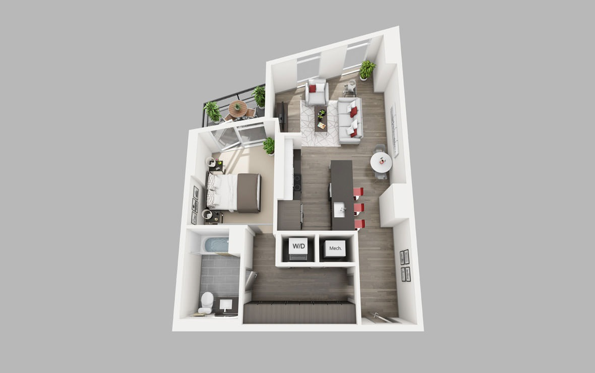 A10a - 1 bedroom floorplan layout with 1 bath and 790 square feet.