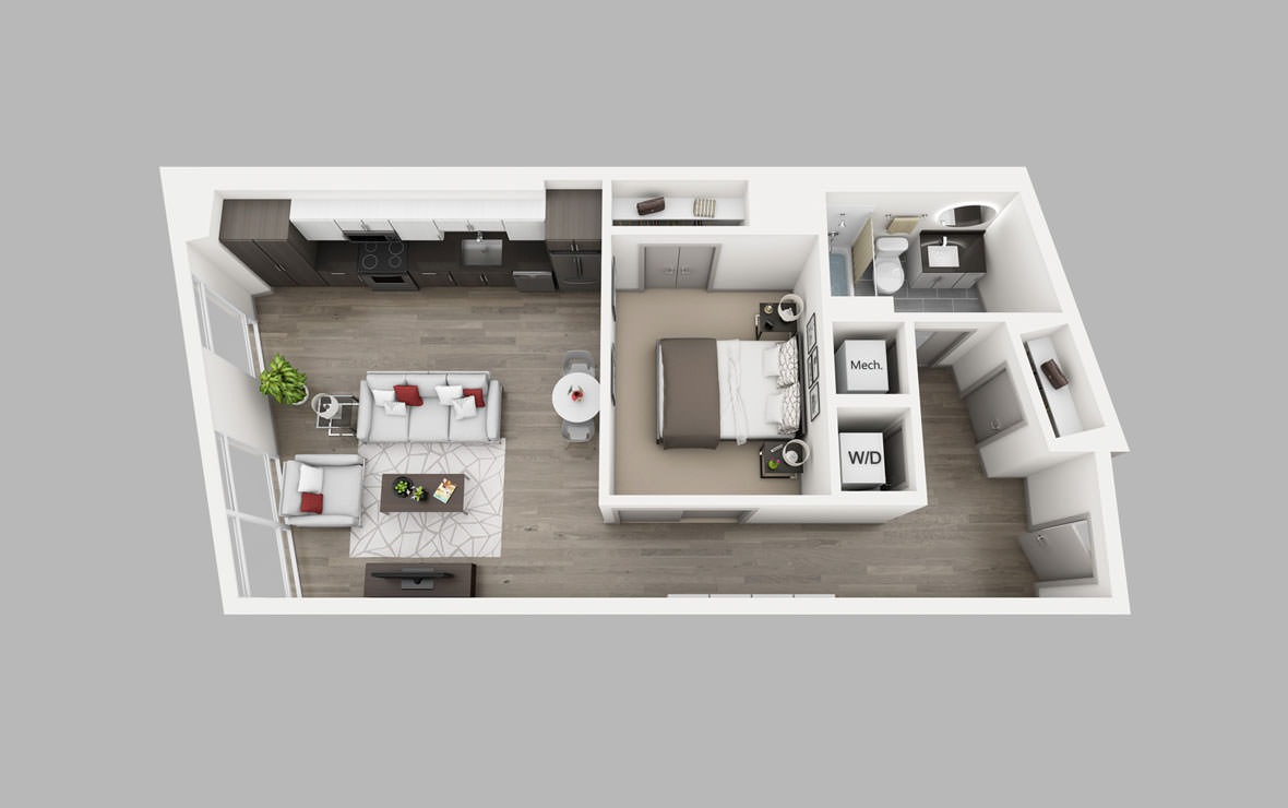 A11 - 1 bedroom floorplan layout with 1 bath and 695 square feet.