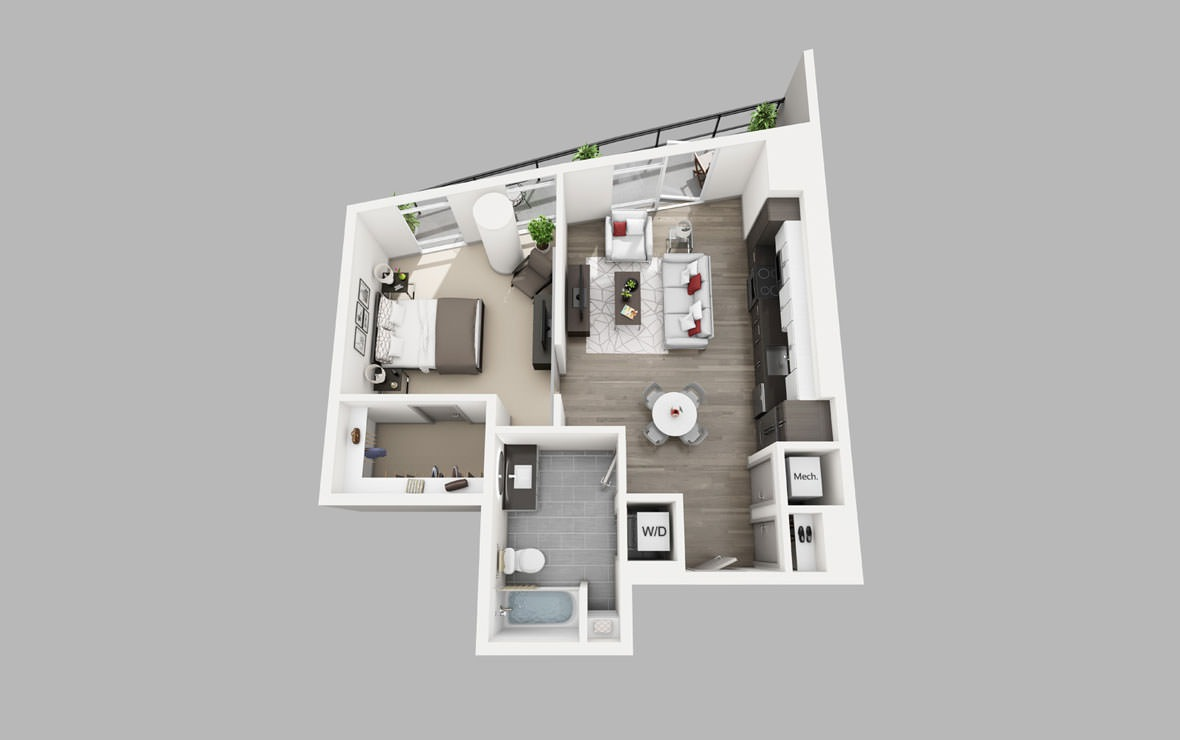 A12 - 1 bedroom floorplan layout with 1 bath and 702 square feet.