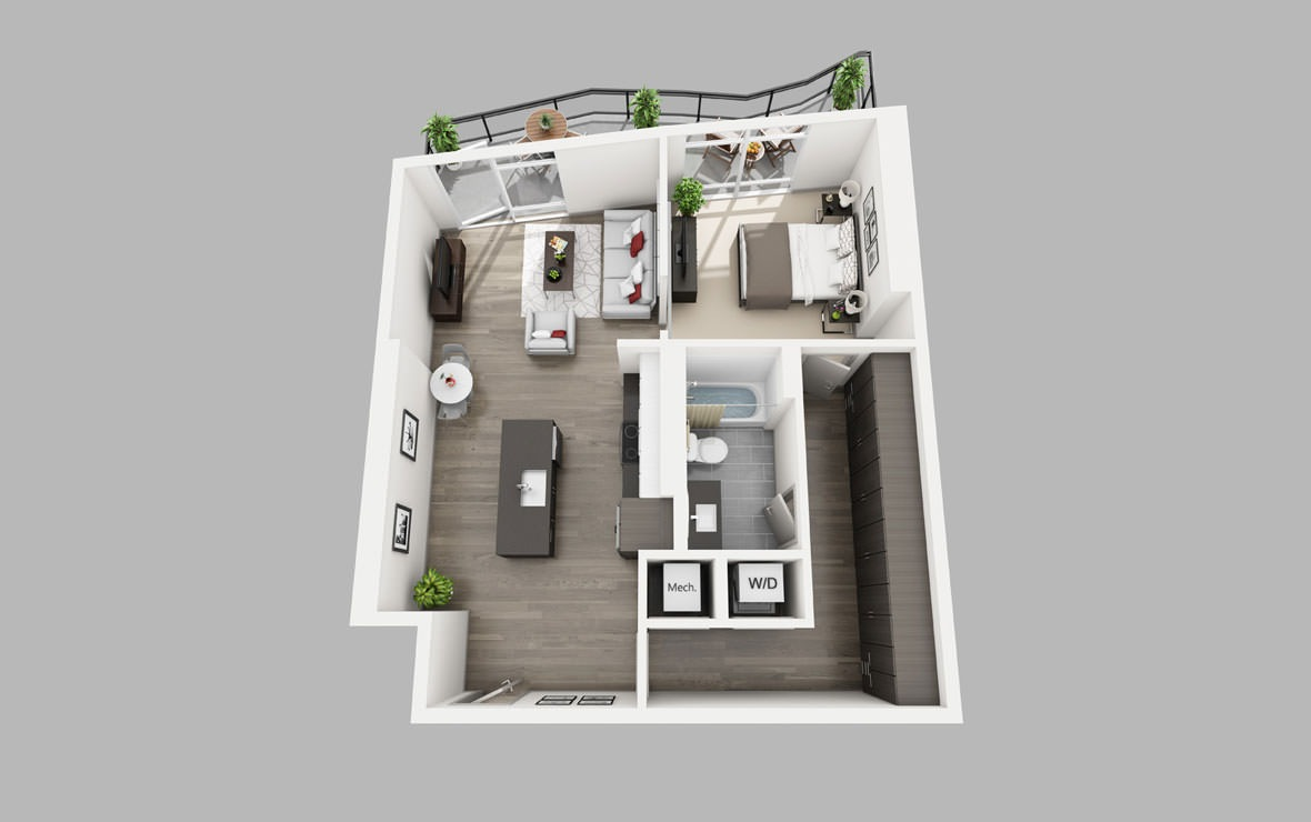 A13 - 1 bedroom floorplan layout with 1 bath and 784 square feet.