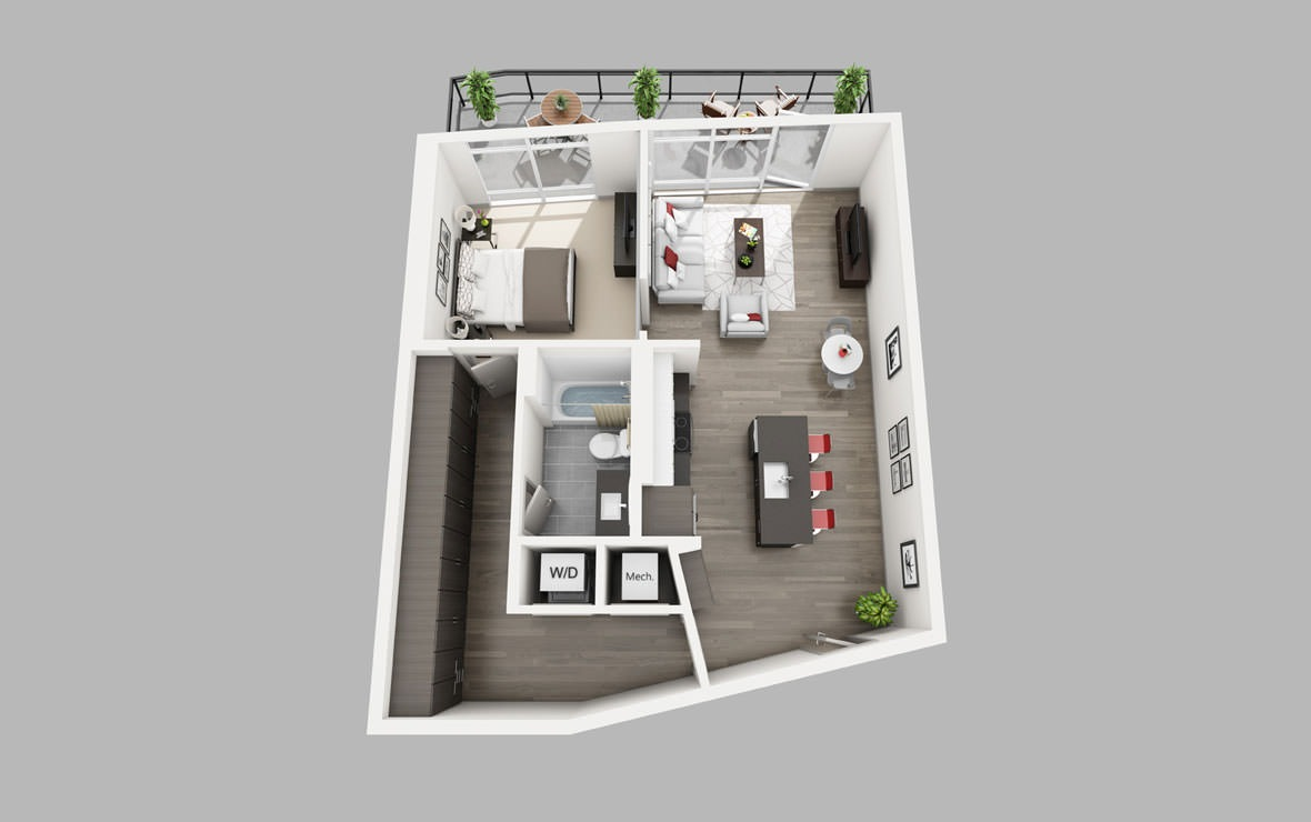 A14 - 1 bedroom floorplan layout with 1 bath and 811 square feet.
