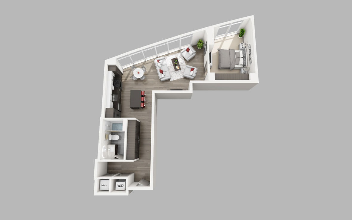 A4 - 1 bedroom floorplan layout with 1 bath and 826 square feet.