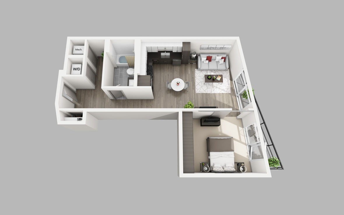 A6 - 1 bedroom floorplan layout with 1 bath and 664 square feet.