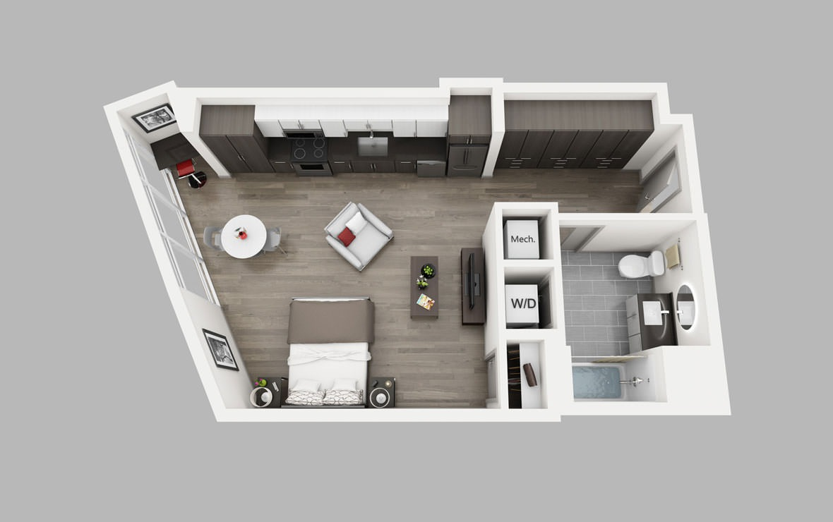 A6a - Studio floorplan layout with 1 bath and 664 square feet.