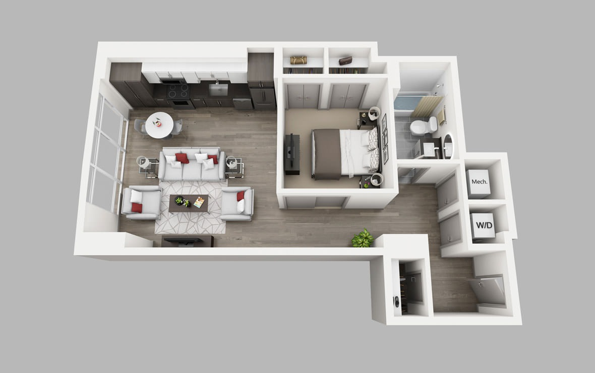 A8 - 1 bedroom floorplan layout with 1 bath and 740 square feet.