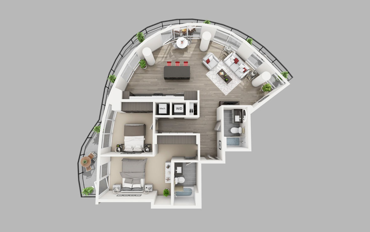 B1 - 2 bedroom floorplan layout with 2 baths and 1233 square feet.