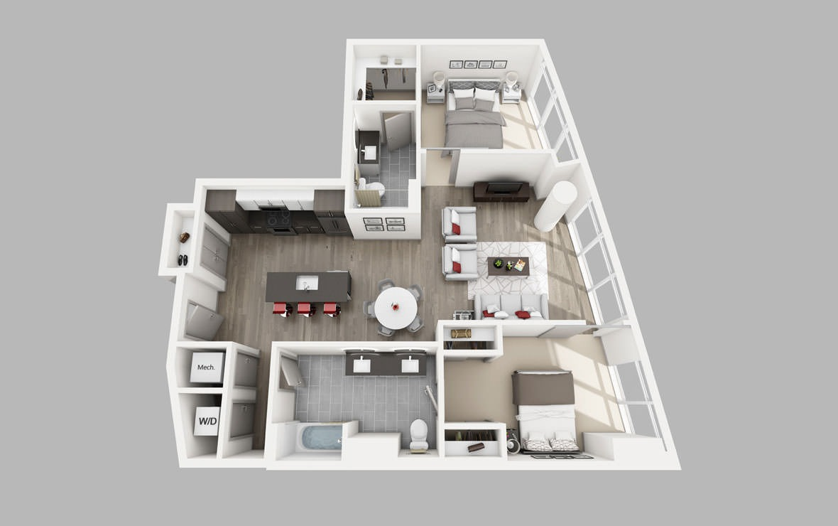 B5 - 2 bedroom floorplan layout with 2 baths and 1129 square feet.