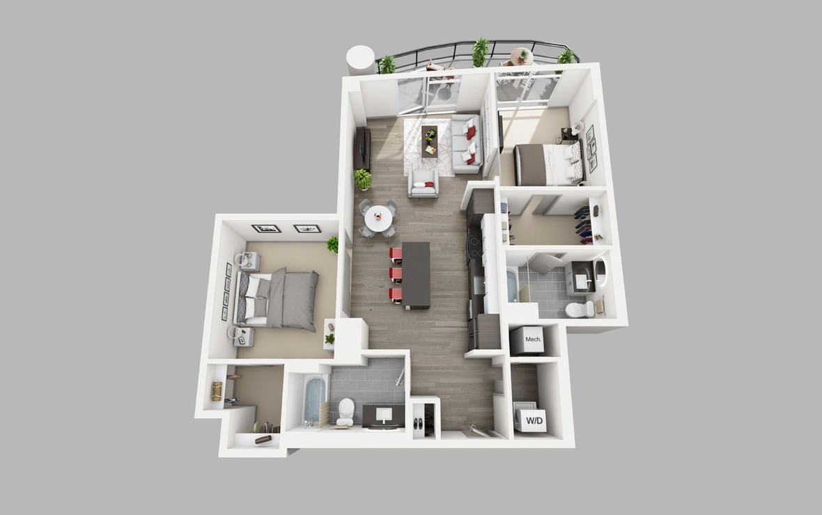 B7 - 2 bedroom floorplan layout with 2 baths and 1079 square feet.