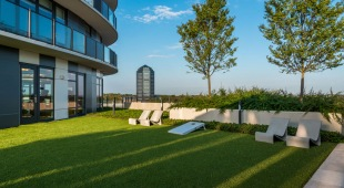 Residents can enjoy our beautifully landscaped outdoor terrace for lounging or playing corn hole all in Tysons Corner.