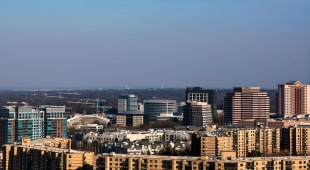 A view of Tysons, VA from the roof of Adaire's high rise apartment building.