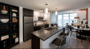 Our luxury apartments in Tysons include chef-caliber kitchens with sleek cabinetry.