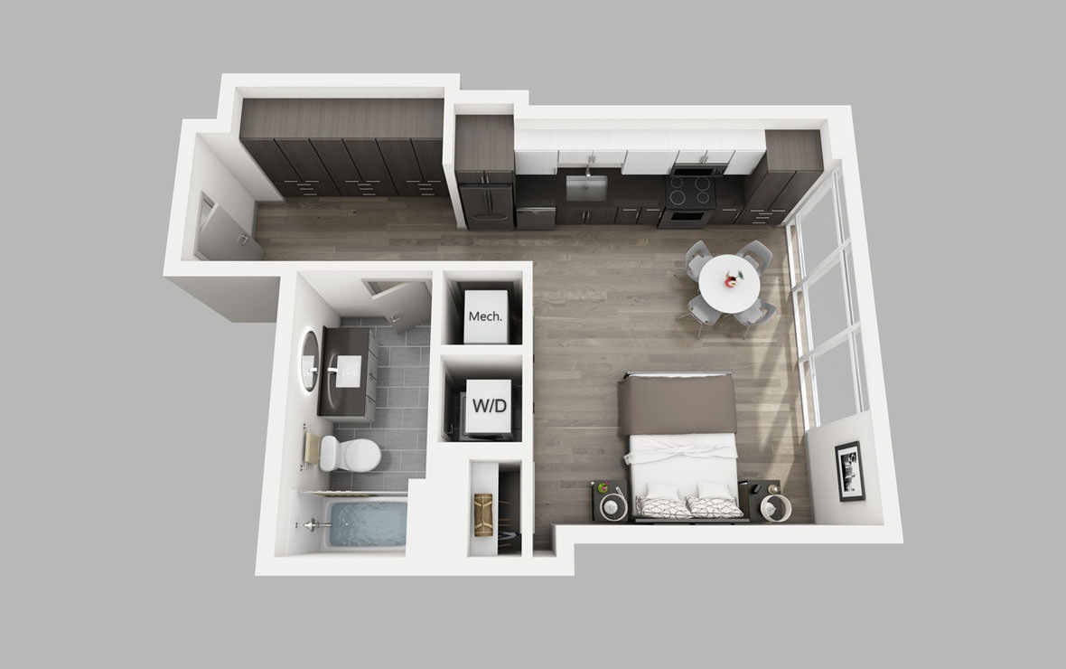 S15 8th Floor - Studio floorplan layout with 1 bath and 515 square feet.