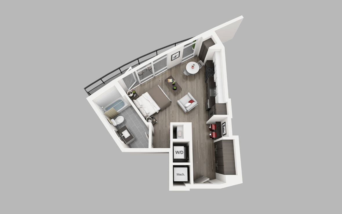 S2 - Studio floorplan layout with 1 bath and 508 square feet.