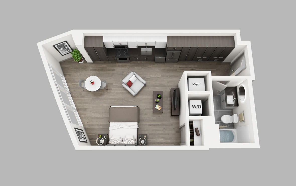 S3 - Studio floorplan layout with 1 bath and 611 square feet.