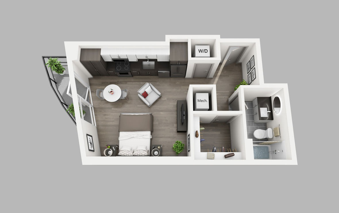 S9 - Studio floorplan layout with 1 bath and 512 square feet.